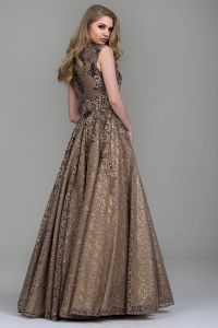 Beads Bronze Lace Prom Dresses Custom Sleeveless V-Neck Party Evening Gowns Z1046 pictures & photos