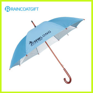 "27""*8k Blue Promotion UV Protection Golf Umbrella with Wooden Handle pictures & photos"