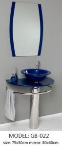Tempered Glass Wash Basin with Silver Mirror