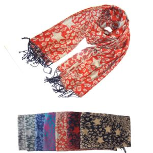 Lady Fashion Leo and Star Jacquard Acrylic Scarf pictures & photos