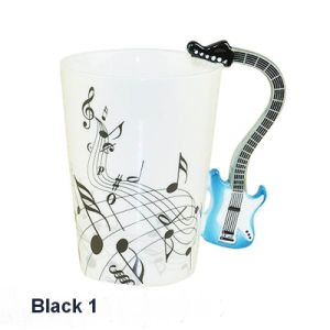Hand Painted Fine Bone China Mug with Guitar Handle