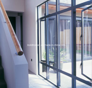Matt Finished Grey Powder Coat Double Glass Aluminium Doors and Windows pictures & photos