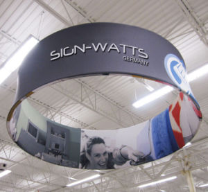Classic Double Side Printing Exhibition Hanging Sign Banner Stand (GC-RC-2) pictures & photos