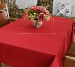 100%Polyester Solid Jacquard Tablecloth, Runner, Napkin pictures & photos