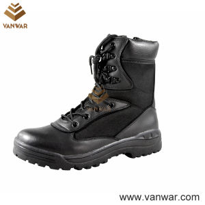 Classic Military Combat Boots of Black Cow Leather (WCB019) pictures & photos