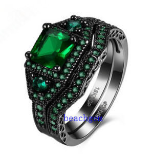 Black Plated Blue Glass Jewelry Rings Set (R0849) pictures & photos