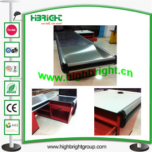 Supermarket Cashier Counter Desk with Conveyor Belt pictures & photos