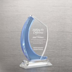 Manufacturer Curved Edge Light Blue Accent Crystal Trophy pictures & photos