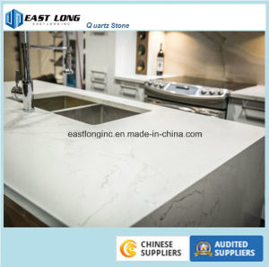White Calacatta Quartz Stone Slab for Countertop pictures & photos
