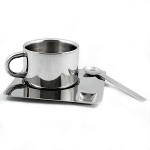 Espresso Cup and Saucer Stainless Steel Vacuum Coffee Cup