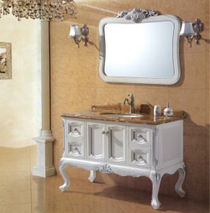 Oak Wooden Bathroom Cabinet with Marble Counter pictures & photos