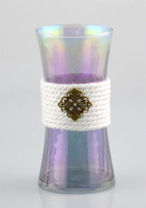 Glass Vase with Cotton Rope and Copper Decoration pictures & photos