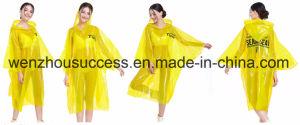 Reusable 0.3mm Long PVC Raincoat Adult Rain Poncho pictures & photos