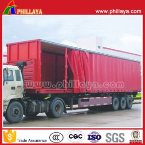 3axles PVC Tarpaulin Truck Cargo Van Box Curtainside Semi Trailer pictures & photos