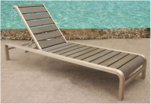 Outdoor Brushed Aluminum Polywood Chaise Lounge (BZ-BR019)