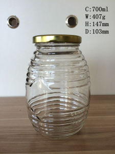 700ml Round Shape Glass Honey Jar with Tin Lid pictures & photos