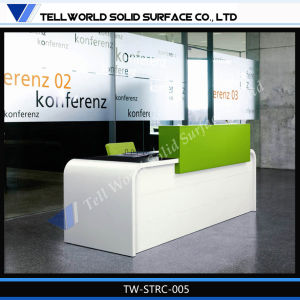 High Gloss Solid Surface Small Reception Desk Corian Cheap Reception Desk pictures & photos