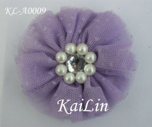 Tulle Floral With Pearl and Gem Center (KL-A0009)