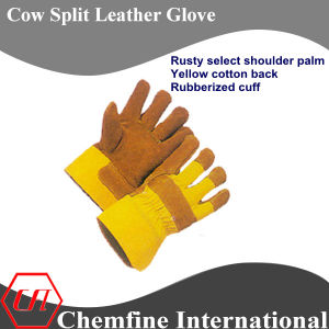 Rusty Select Shoulder Palm, Yellow Cotton Back, Rubberized Cuff Leather Work Gloves pictures & photos