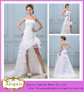 New Organza Lace Appliques Beaded Strapless Ruffles Sleeveless Removable Skirt Prom Dresses Yj0070