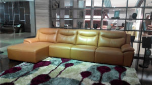 Leather Sofa Golden Color L Shape Leather Sofa pictures & photos