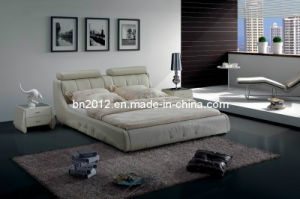 Modern Genuine Leather Bed (SBT-5840) pictures & photos