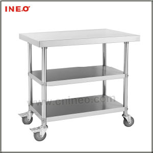 China Stainless Steel Kitchen Mobile Work Bench With 2