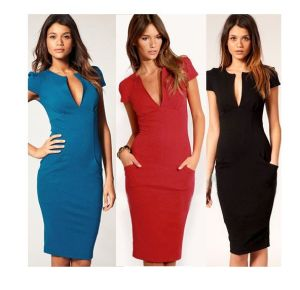 Latest Fashionsexy Bodycon V-Neck Women Office Dress pictures & photos