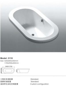 Classical Rectangel Acrylic Home Bathtub pictures & photos