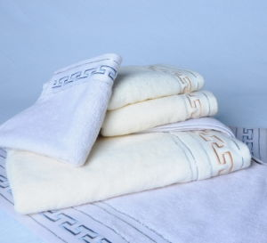 Solid Colour Cotton Terry Towel Sets With Great Wall Jacquard Pattern Cu-428