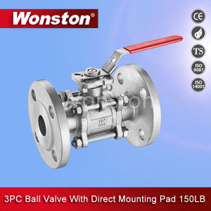 Investment Casting 3PC Body Flanged Ball Valve 150lb