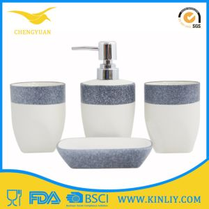 SGS Certification Ceramic Glazed Bath Set Lotion Dispenser Bathroom Accessory pictures & photos