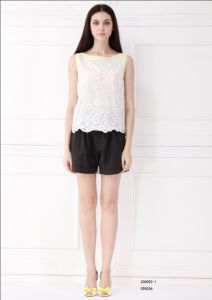 Simple Sleeveless White Embroidery Blouse (200092-1)