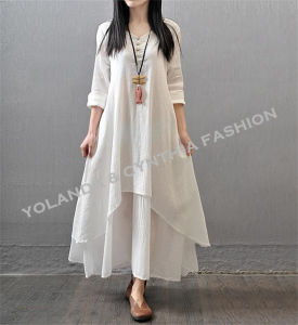 Fashion Cotton Linen Casual Long Dress