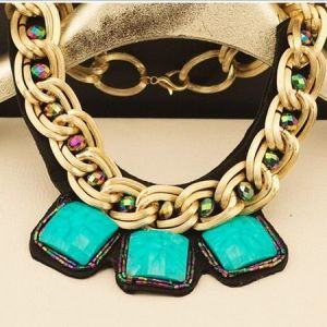 Big Metal Cheap Handmade Acrylic Turquoise Necklace (ZD-3599)