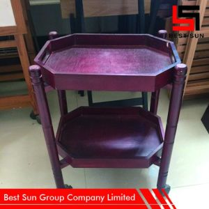 Wooden Food Trolley Double-Layer, Wholesale Hotel Trolley pictures & photos