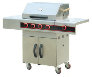 Outdoor Gas Barbecue Grill with Wheels Stainelss Steel Garden BBQ Grill pictures & photos