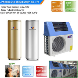 Top10 Hot Sell Family Sanitary 60deg. C Save 80% Power Cop5.32 5kw, 7kw, 9kw Tankless 220V Split Air Heat Pump Hybrid Solar Geysers pictures & photos