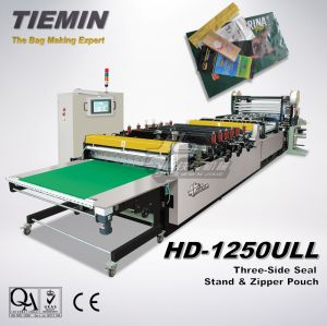 Tiemin Automatic High Speed Stand up Pouch Zipper Pouch & Bag Making Machine HD-1250ull (Stand up pouch from one web, stand up pouch gusset insert, with zipper) pictures & photos