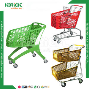 Hot Sale Durable Lightweight Whole and Pure Plastic Shopping Trolley for Supermarket pictures & photos