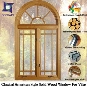 American Style Solid Wood Casement Window (External Grid System) , Arch Design Solid Wood Window with External Light Grille pictures & photos