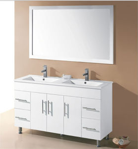 White Glossy MDF Bathroom Vanity with Double Basin (SH31-1500WD) pictures & photos