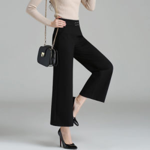 Custom Women′s Black Plain Wide Leg Palazzo Capri Pants pictures & photos
