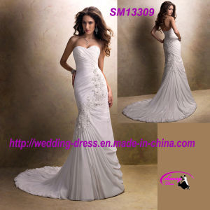 Draped Chiffon Beach Wedding Dress with Button Zipper Back pictures & photos