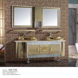 Luxury Stainless Steel Golden Bathroom Vanity Cabinet with Double Basins on The Countertop pictures & photos
