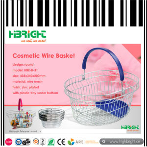 Supermarket Chrome Handle Metal Wire Shopping Basket pictures & photos