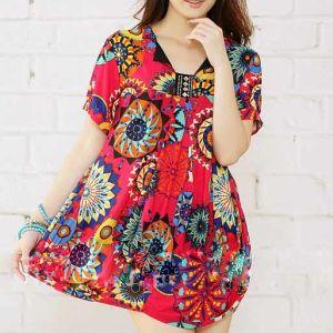 Fashion Printed Sunflower Plussize Ladies Dress (LD-028)