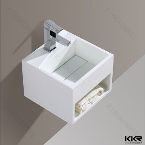 Resin Stone Solid Surface Pedestal Bathroom Sink for Hotel pictures & photos