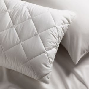 Inseam Quilted Cotton and Polyester Blended White Pillow
