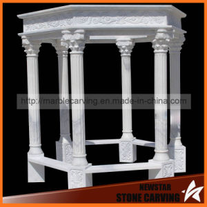 White Marble Gazebo with Pillars in Park pictures & photos
